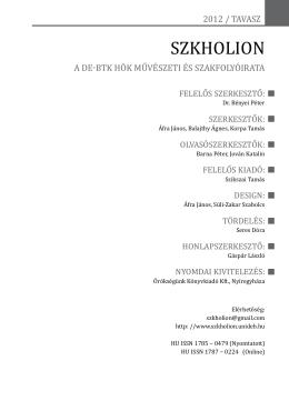 Szkholion, 2012/1 (tavaszi félév)