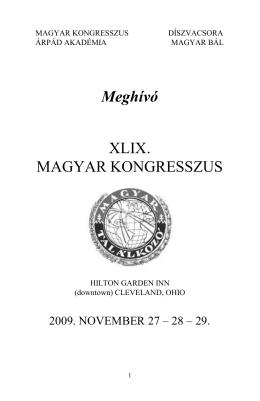 49. Magyar Kongresszus - Program