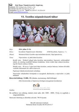 VI. Textiles népművészeti tábor