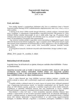 Lapszemle 2014. 4. hét - Fogyasztóvédő és Érdekszövetség
