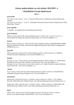 Wykaz podręczników dla klas LO: II i III na rok szkolny 2013/2014