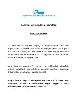 Kaposvári lomtalanítási naptár 2015. (pdf)
