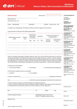 Nyilatkozat Villamos hálózat, illetve berendezés kivitelezéséről