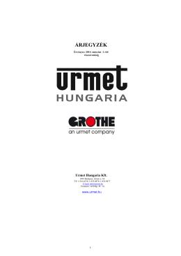 URMET és GROTHE árlista 2014 március 1.-től