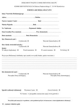 Protokół zaliczenia/egzaminu * Protokół zaliczenia/egzaminu