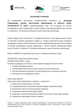 Informacja o naborze - Miejsko - Gminny Ośrodek Pomocy Społecznej