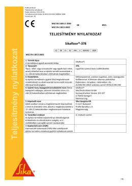 Teljesítmény Nyilatkozat - sika termékek webáruháza