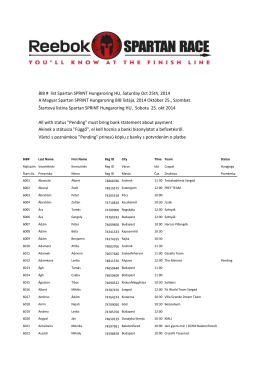 BIB # list Spartan SPRINT Hungaroring HU, Saturday Oct 25th, 2014