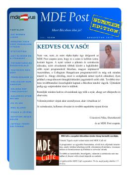 MDE Post - MDE-VUS Magyar Diákok Egyesülete
