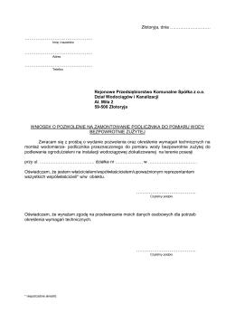 Pozwolenie wodnoprawne oraz wyniki badań
