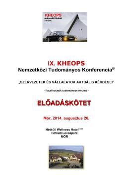 Előadáskötet - IX. KHEOPS Tudományos Konferencia