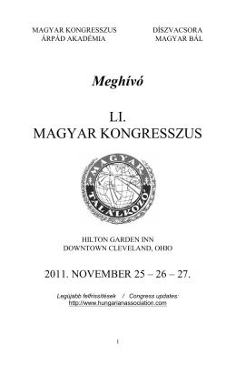 MAGYAR KONGRESSZUS Meghívó - Hungarian Association