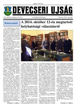 A 2014. október 12-én megtartott helyhatósági választásról
