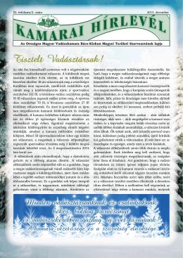 KAMARAI HÍRLEVÉL 2013. december - Bácsvadász – Bács