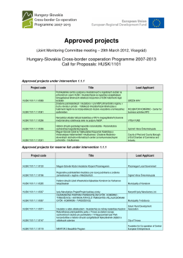 Approved projects
