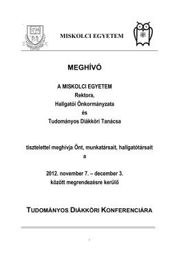 2012. évi TDK Konferencia