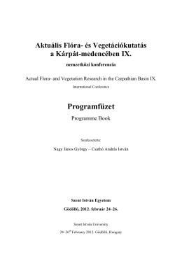 Programja - Aktuális Flóra- és Vegetációkutatás a Kárpát