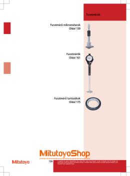 Furatmérők Furatmérő mikrométerek Oldal 139