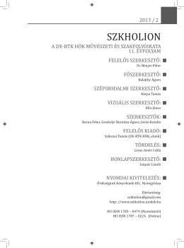 Szkholion 2013/2 - Debreceni Egyetem