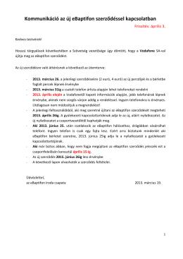 Kommunikáció az új eBaptifon szerződéssel kapcsolatban