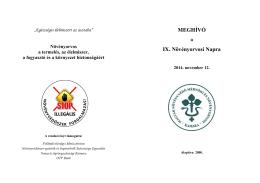 MEGHÍVÓ IX. Növényorvosi Napra - Magyar Növényvédő Mérnöki