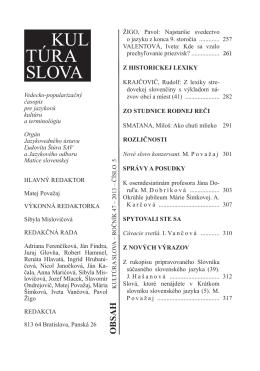KUL TÚRA SLOVA - Jazykovedný ústav Ľudovíta Štúra
