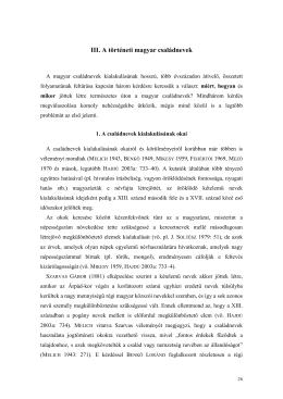 III. A történeti magyar családnevek