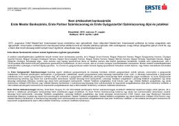 Nem értékesített bankszámlák Erste Mester
