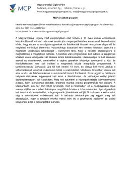 MCP rövidített program - Magyarországi Cigány Párt