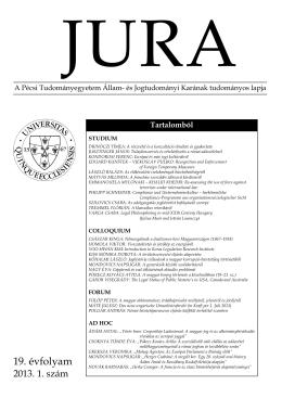2013. évi 1. szám - JURA