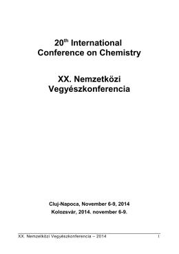 Program és informaciók - Nemzetközi Vegyészkonferencia