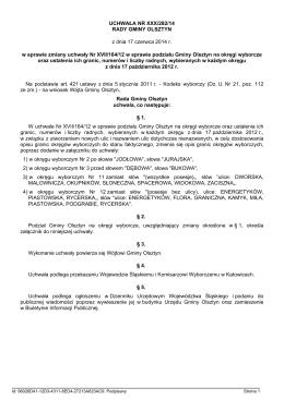 Uchwala Nr XXXIX/279/14 z dnia 22 lipca 2014 r.