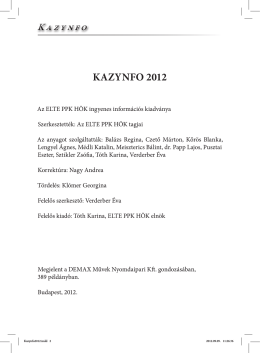 KAZYNFO 2012 - PPK HÖK - Eötvös Loránd Tudományegyetem