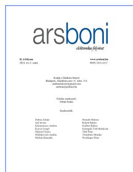 II. szám - Ars Boni