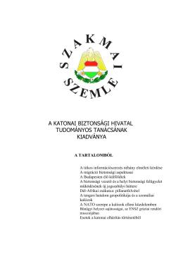 a katonai biztonsági hivatal tudományos tanácsának kiadványa