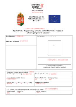 在匈出生的第三国籍小孩的申请表