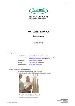 ÖNTÖZÉSTECHNIKA - Technoconsult Kft.