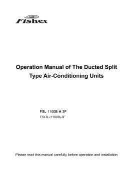 Operation Manual of The Ducted Split Type Air