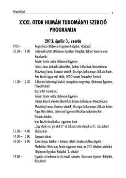 A konferencia programja - XXXI. OTDK Humán Tudományi Szekció