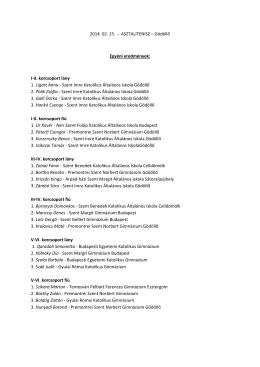 2014. 02. 15. - ASZTALITENISZ – Gödöllő Egyéni eredmények: I