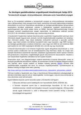 Az ökológiai gazdálkodásban engedélyezett készítmények listája