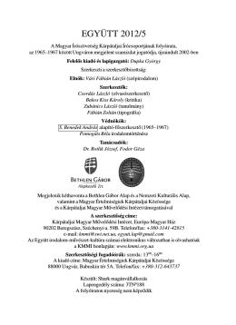 EGYÜTT 2012/5 - Kárpátaljai Magyar Művelődési Intézet