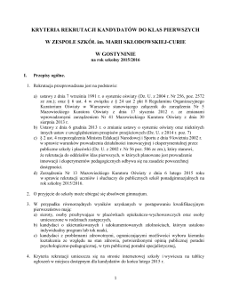 Regulamin przyjęć uczniów do klas pierwszych Gimnazjum nr 7 w