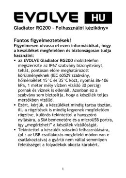 Gladiator RG200 – Felhasználói kézikönyv Fontos