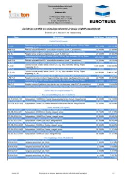 Eurotruss emelők és színpadrendszerek árlistája