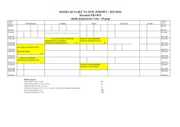 Harmonogram zajęć na hali sportowe rok szkolny 2014/2015