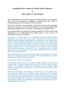 Összefoglaló a 2014. október 4-5-i Globális Vezetői Találkozóról és