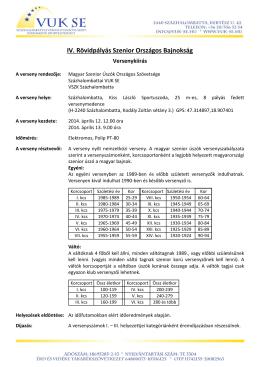 Versenykiírás - Magyar Szenior Úszók Országos Szövetsége