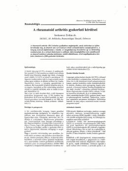 A rheumatoid arthritis gyakorlati kérdései