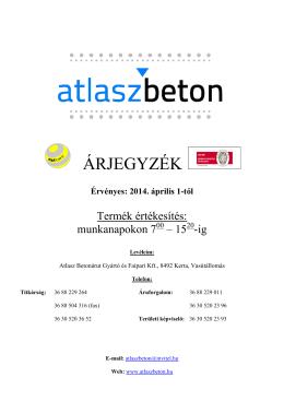 ÁRJEGYZÉK - Atlasz Beton Kft.